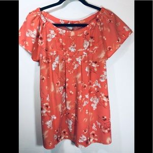 Fred David floral blouse Sz L
